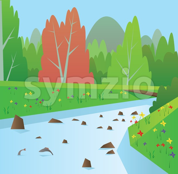 Digital vector abstract background with a blue river with fish, forest with red and green trees, flowers, blue sky, flat ...
