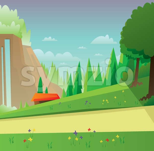 Digital vector abstract background with meadow with flowers, forest with green trees, clouds, small wooden house with red roof, blue sky, flat Stock Vector