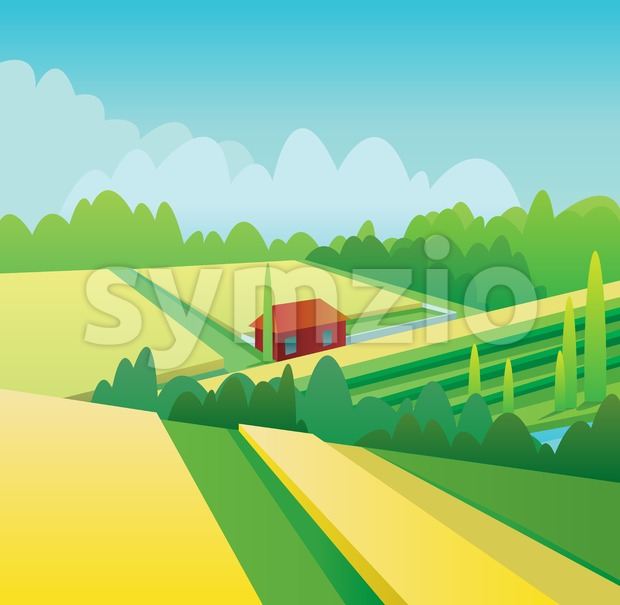 Digital vector abstract background with yellow corn fields and hills, forest with green trees, clouds, small wooden red house, blue sky, flat triangle Stock Vector