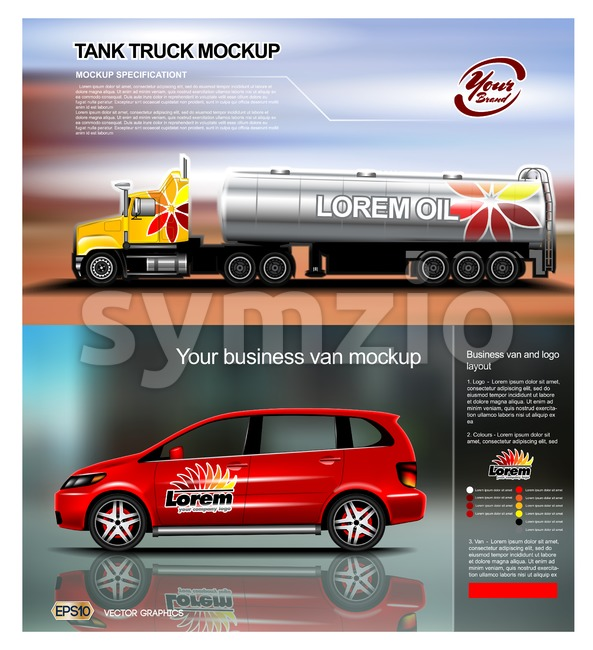 Digital vector red new modern business vehicle van and truck close up mockup, ready for print or magazine design. Your ...