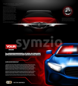 Digital vector red and blue modern sport car mockup, ready for print or magazine design. Your brand, white lights on. Black background. Transparent, Stock Vector