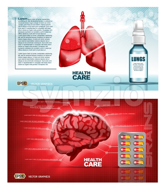Digital vector red medicine lungs structure and brain infographics of respiratory healthcare mockup and pills, with your brand, ready for print ads or Stock Vector