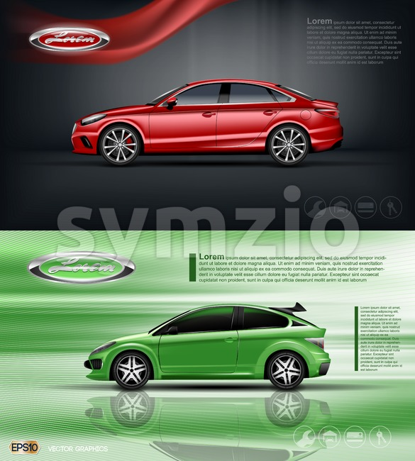 Digital vector red and green model sedan car with black windows mockup, your brand, ready for print ads or magazine ...