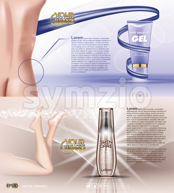 Digital vector blue violet anti cellulite skin care and legs cosmetic container mockup with gel, your brand, for print ads design. Female back. Stock Vector