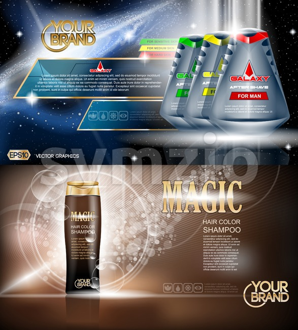 Digital vector blue and brown shower gel and shampoo for men mockup on water background with bubbles, oil skin pretector, your brand, ready for Stock Vector