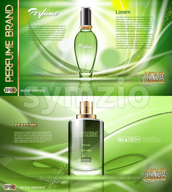 Digital vector green glass perfume for men and women container mockup, with your brand, ready for print ads or magazine design. Transparent and shine, Stock Vector