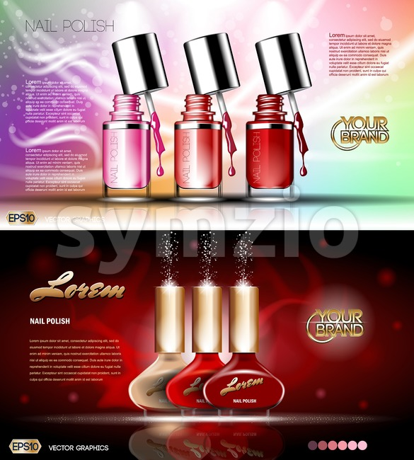 Digital vector transparent nail polish set container mockup, silver cup, open lid and color blot, with your brand, ready for print ads or magazine Stock Vector