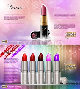 Digital vector silver container and colored glamorous lipsticks set mockup, with your brand, ready for print ads or magazine design. Glossy and shine, Stock Vector