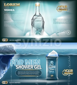 Digital vector aqua silver shower gel and vodka bottle mockup with ice and sparkle, with your brand, ready for print ads or magazine design. Glossy Stock Vector