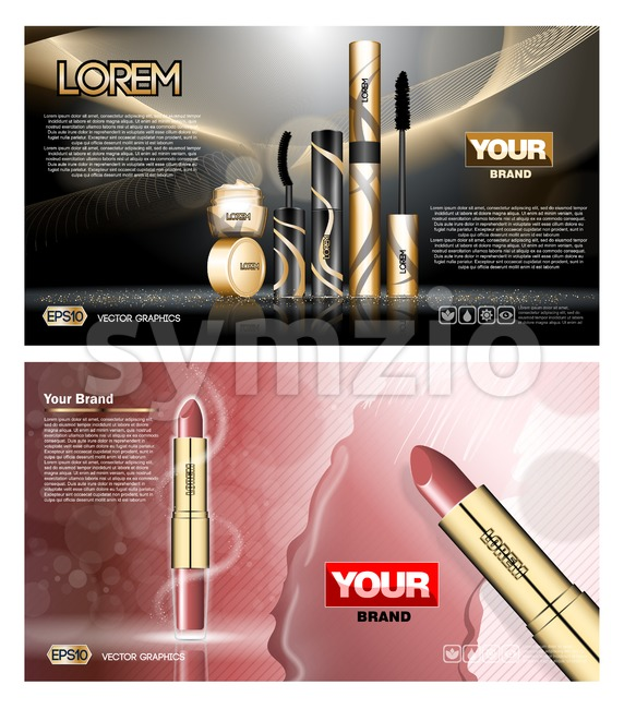 Digital vector red and black skin care cream, mascara cosmetic container set mockup collection, your brand package, print ads or magazine design. Stock Vector