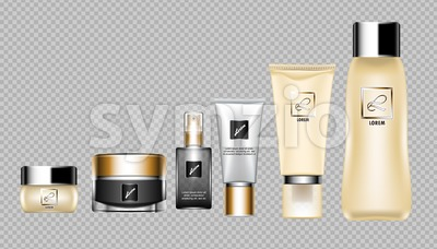 Digital vector brown skin care cream, lotion and perfume cosmetic container set mockup collection, your brand package, print ads or magazine design. Stock Vector