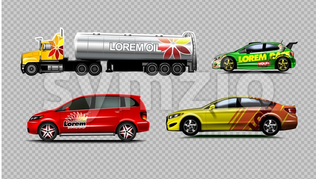 Digital vector yellow red and green sedan sport cars mockup, van and fuel tank truck. Your brand. Isolated. Transparent, realistic ...