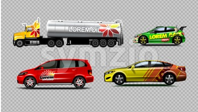 Digital vector yellow red and green sedan sport cars mockup, van and fuel tank truck. Your brand. Isolated. Transparent, realistic 3d, reflection Stock Vector