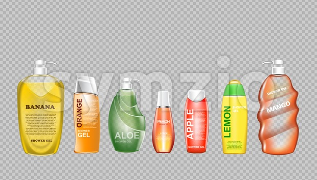 Digital vector green and yellow shower gel set cosmetic container mockup, your brand, ready for print ads design. Banana fruit, ...