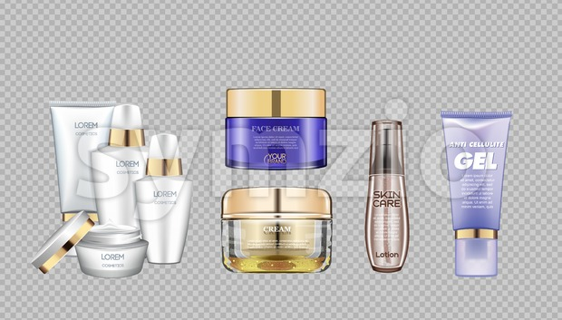Digital vector glass face and skin care cream brown and purple container mockup set, with your brand, ready for print ...