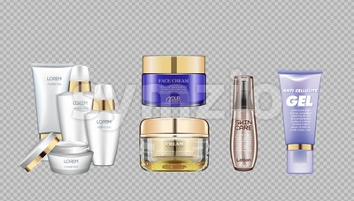 Digital vector glass face and skin care cream brown and purple container mockup set, with your brand, ready for print ads or magazine design. Stock Vector