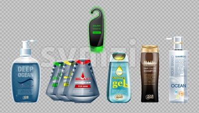 Digital vector ocean blue shower gel and soap mockup set, shampoo and shower gel, your brand, ready for design. Realistic style Stock Vector