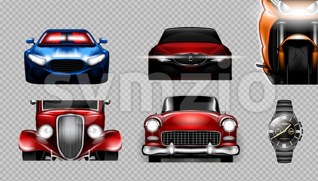 Digital vector blue red and orange sport cars mockup set, bike and metalic watch. Your brand. Isolated. Transparent, realistic 3d, ...