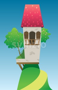 Digital vector, fairytale and fantasy castle with red roof built on a green hill with trees, dark blue sky with white clouds, flat style Stock Vector