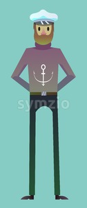 Digital vector, sailor man character for infographics, beard and red nose, flat style, blue background Stock Vector