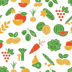 Digital vector green and red vegetable icons set infographics pattern with drawn simple line art, onion squash pear orange apple grape carrot wallnut Stock Vector