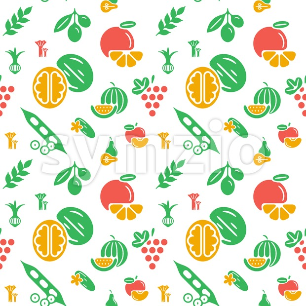 Digital green yellow vegetable icons set infographics drawn simple line art pattern, onion squash pear orange apple grape carrot wallnut peas Stock Vector
