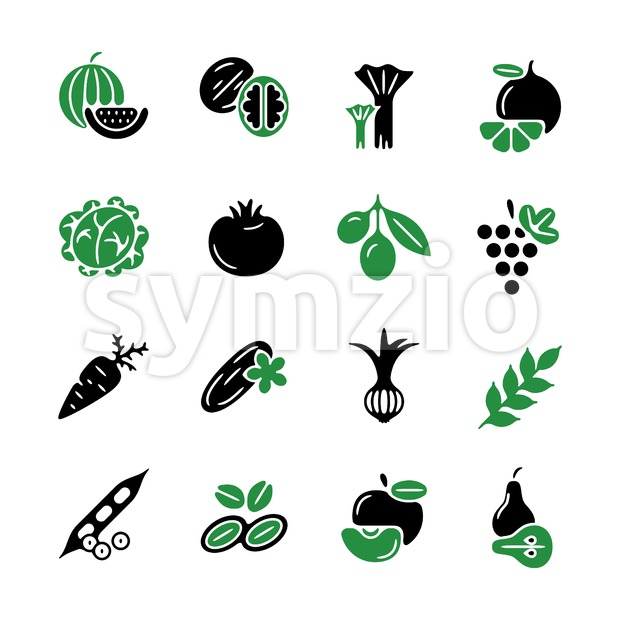 Digital green black vegetable icons set infographics drawn simple line art pattern, onion squash pear orange apple grape carrot wallnut peas Stock Vector