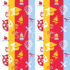 Digital vector red and blue school icons set infographics with drawn simple line art, telescope map globe hat bell clock pen ruler book apple girl boy Stock Vector