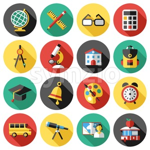 Digital vector red green blue school icons infographics with drawn simple line art, telescope map globe hat bell clock pen ruler book apple girl boy Stock Vector