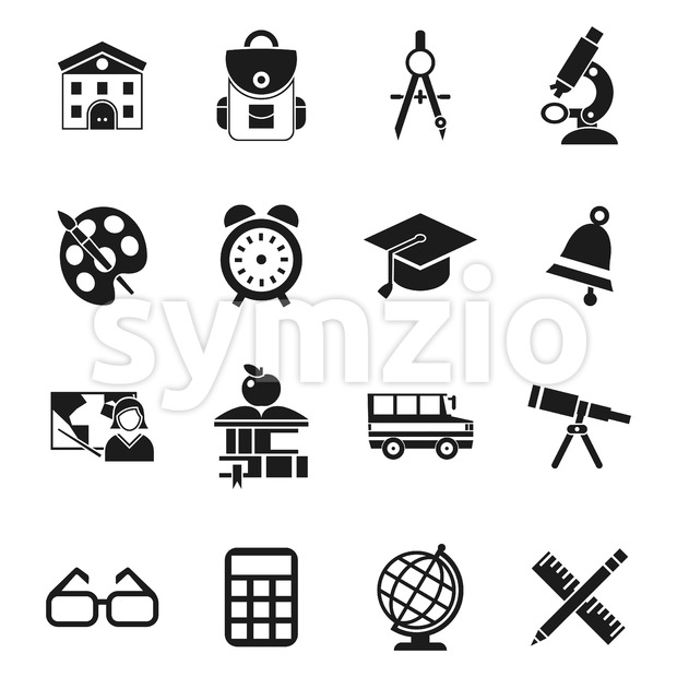 Digital vector black school icons infographics with drawn simple line art, telescope map globe hat bell clock pen ruler book apple girl boy pupil Stock Vector