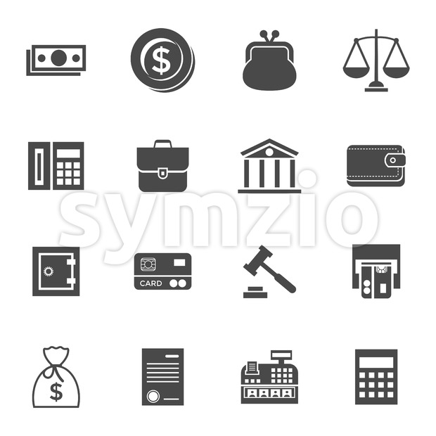 Digital vector black business icons with drawn simple line art info graphic, presentation with 16 economy elements around promo template, ...