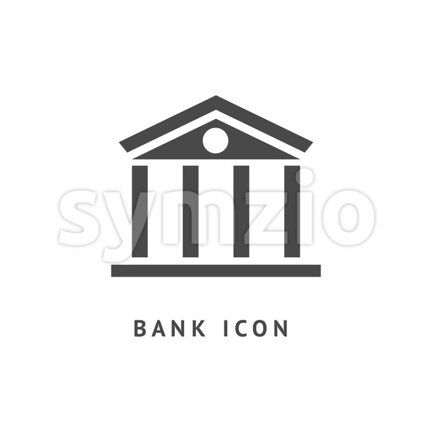 Digital vector black business bank building icon with drawn simple line art, flat style Stock Vector