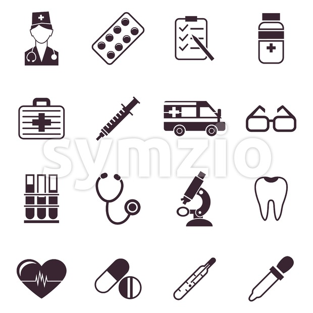 Digital vector black medical icons with drawn simple line art info graphic, ambulance tooth pills nurse heart tubes syringe medicine ...