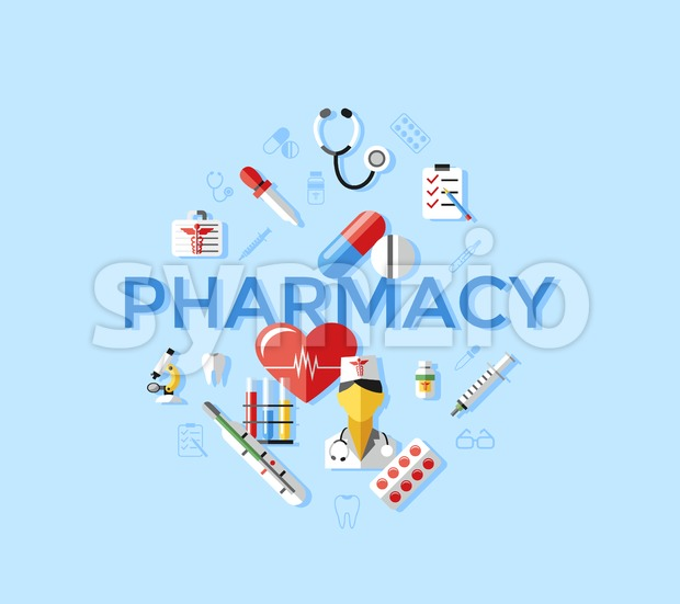Digital vector blue pharmacy medical icons set with drawn simple line art info graphic, ambulance tooth pills nurse heart tubes syringe medicine Stock Vector