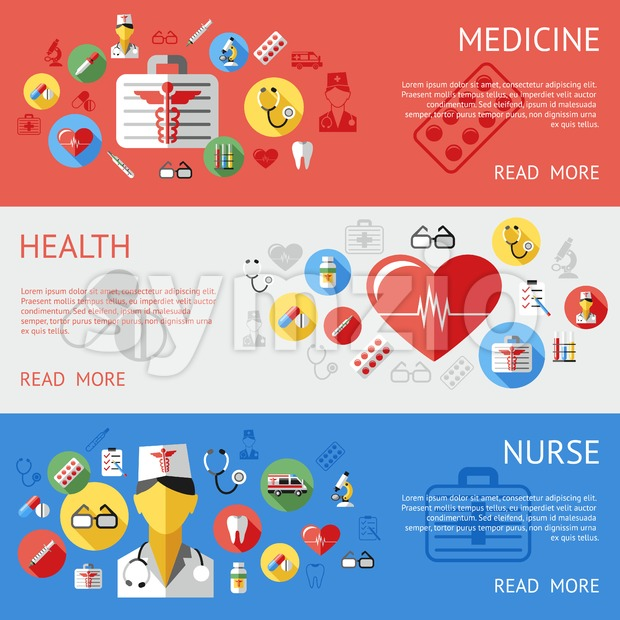 Digital vector blue red silver pharmacy medical icons set with drawn simple line art info graphic, ambulance tooth pills nurse heart tubes syringe Stock Vector