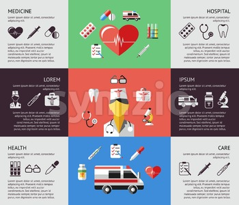 Digital vector blue red green pharmacy medical icons set with drawn simple line art info graphic, ambulance tooth pills nurse heart tubes syringe Stock Vector