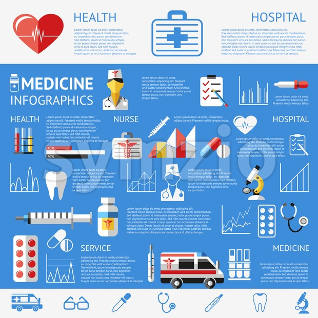 Digital vector blue pharmacy medical icons set with drawn simple line art info graphic poster promo, ambulance tooth pills nurse heart syringe Stock Vector