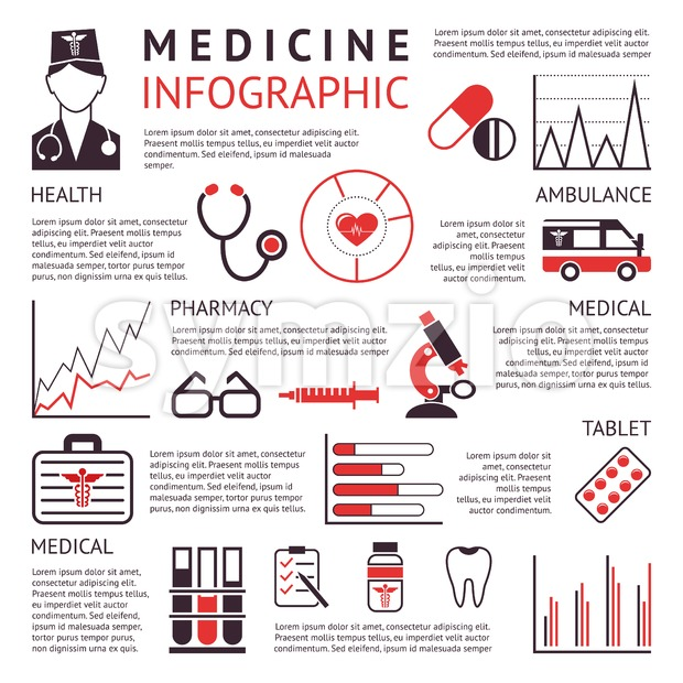 Digital vector black red pharmacy medical icons set with drawn simple line art info graphic promo poster, ambulance tooth pills nurse heart tubes Stock Vector