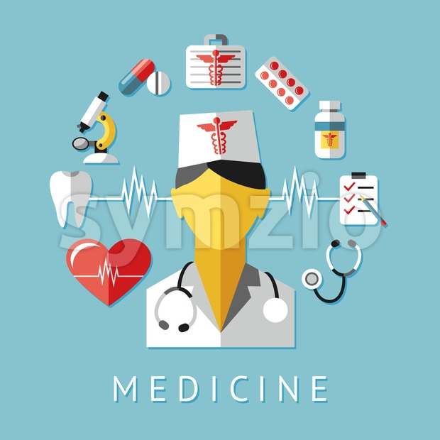 Digital vector blue red nurse pharmacy medical icons set with drawn simple line art info graphic, ambulance tooth pills tubes medicine dropper first Stock Vector