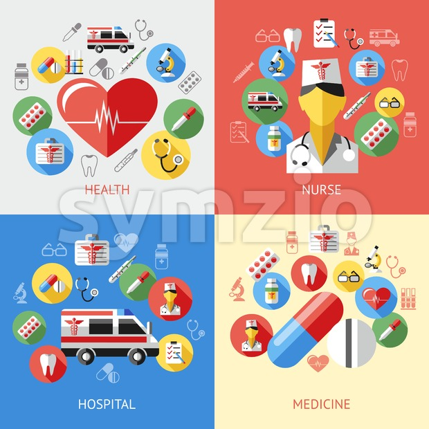 Digital vector blue red pharmacy medical icons set with drawn simple line art info graphic, ambulance tooth pills nurse heart tubes syringe medicine Stock Vector