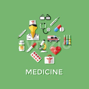 Digital vector green red nurse pharmacy medical icons set with drawn simple line art info graphic, ambulance tooth pills tubes medicine dropper first Stock Vector