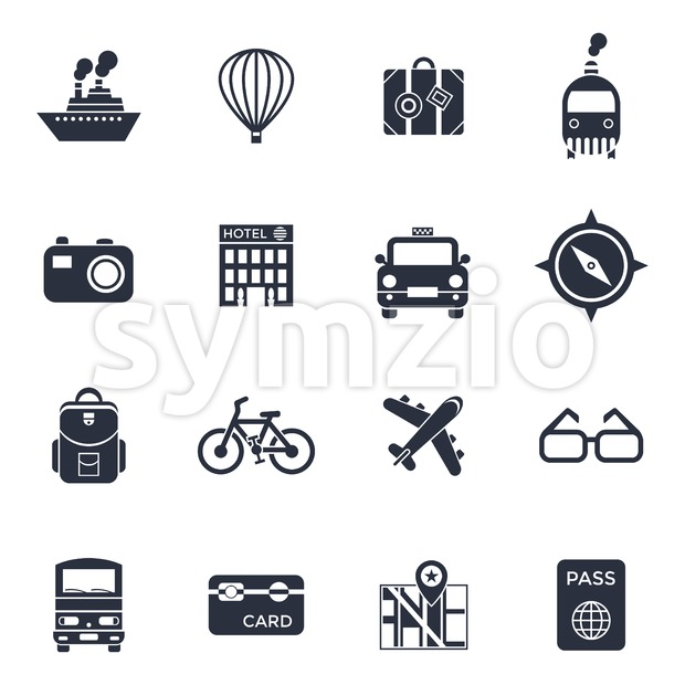 Digital vector black travel icons set with drawn simple line art info graphic poster promo, ship boat camera balloon luggage ...