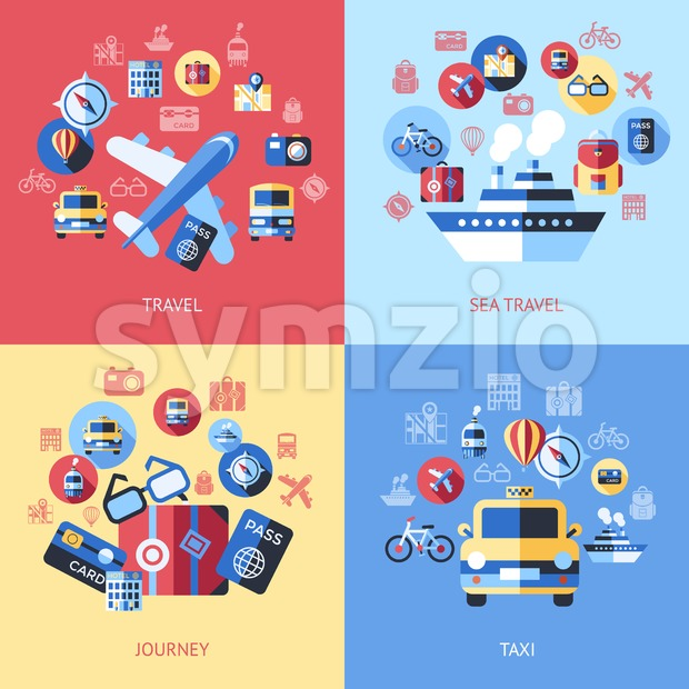 Digital vector blue red travel icons set with drawn simple line art info graphic poster promo, ship boat camera balloon ...