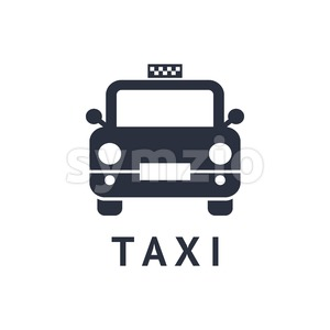 Digital vector black travel taxi transport car icon with drawn simple line art, flat style Stock Vector