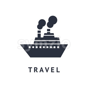 Digital vector black travel boat transport icon with drawn simple line art, flat style Stock Vector