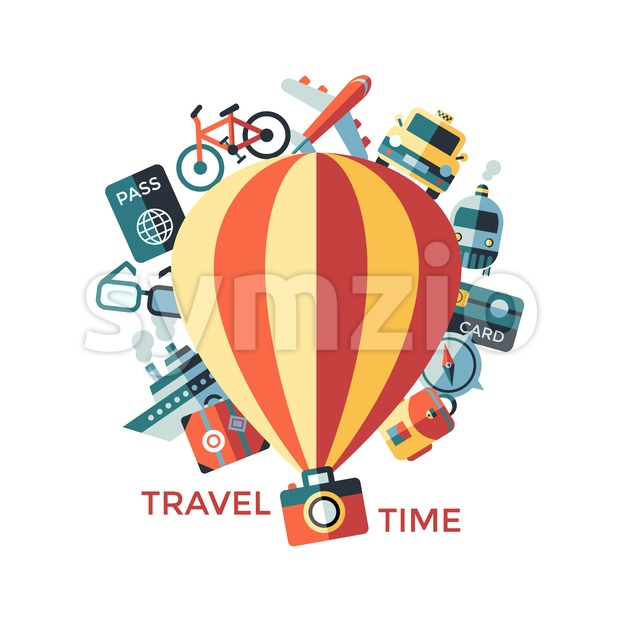 Digital vector travel icons set with drawn simple line art info graphic poster promo, ship boat camera balloon luggage compass ...