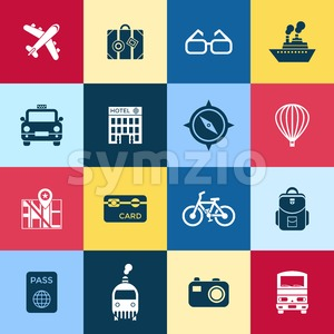 Digital vector red blue travel icons set with drawn simple line art info graphic poster promo, ship boat camera balloon luggage compass air plane map Stock Vector