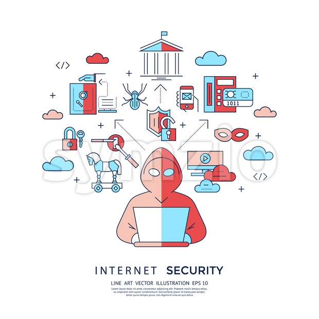 Digital vector blue internet security data protection icons set drawn simple line art info graphic poster, hacker user bug vulnerability mobile email Stock Vector