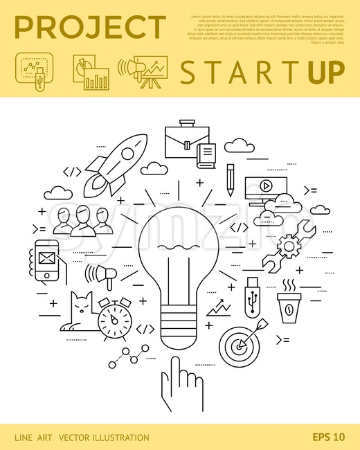 Digital vector yellow startup business icons with drawn simple line art info graphic, presentation with project and team elements around ...