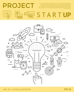 Digital vector yellow startup business icons with drawn simple line art info graphic, presentation with project and team elements around promo Stock Vector